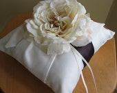 Wedding Ring Bearer Pillow Ivory or White You Customize FREE shown ivory open rose and purple ribbon