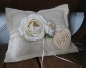 Rustic Burlap Wedding Ring Bearer Pillow With Lace You Customize Personalized Chalkboard or Wood Heart Tag