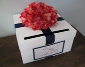 White Wedding Card Box with navy and coral hydrangeas and personalized tag- You Customize colors and Flowers