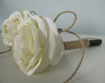 Guest Book Pen Sharpie Marker SET OF 2 You Customize Ribbon or Twine Covered Brown Jute Twine Shown with Ivory Ranunculus