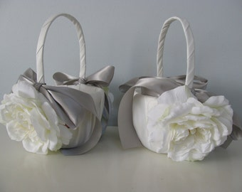 Satin Flower Girl Baskets Set of 2  Shown Ivory with Open White Roses and Gray Ribbon