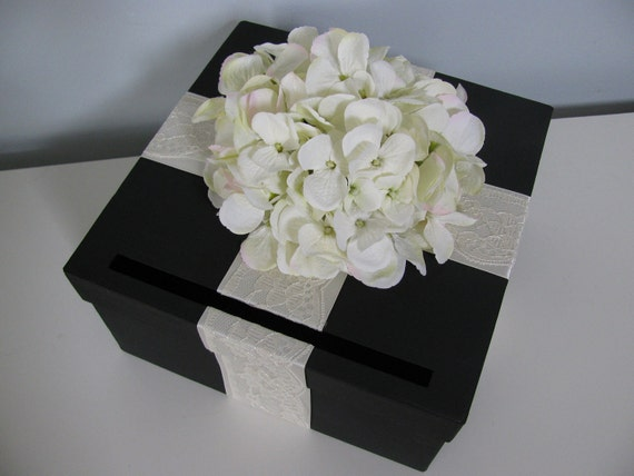 Black Wedding Card Box with Ivory Lace satin ribbon and Ivory Hydrangeas can customize colors and flowers