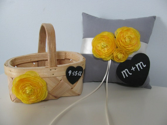 Ring Bearer Pillow and Flower Girl Basket SET Yellow and Gray Wedding You customize Colors and Flowers