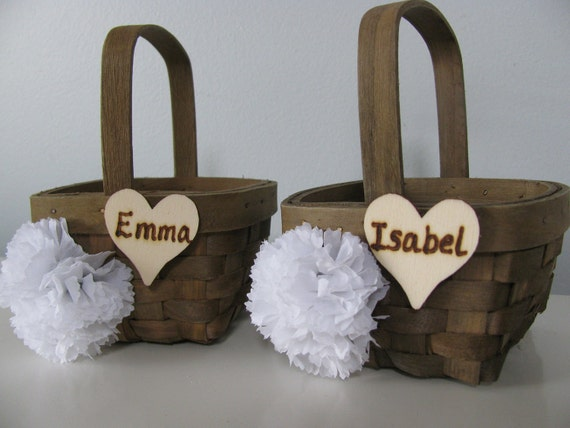Small Rustic Wood Woven Flower Girl Basket Set of 2 with Wood or Chalkboard Tag and Your Choice of Flowers PERSONALIZED AND CUSTOMIZED