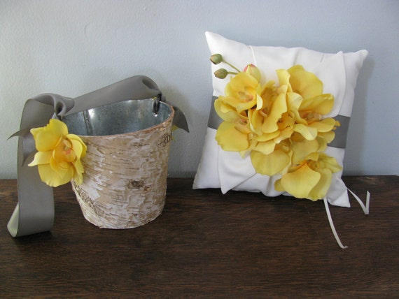 Rustic Flower Girl Basket and Ring Bearer Pillow SET  Natural Birch Bark shown pewter gray and yellow orchids