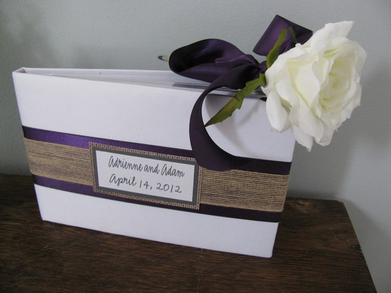 You Customize Wedding Guest Book and Guest Book Pen SET Shown Lapis Plum Purple and Burlap with Personalized Tag