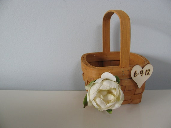 Flower Girl Baskets Small : Small rustic wood woven flower girl basket with or