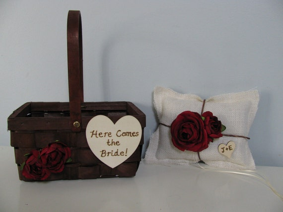 Burlap Ring Bearer Pillow and Here Comes the Bride Flower Girl Basket Set with Chalkboard or Wood Tag You customize Colors and Flowers