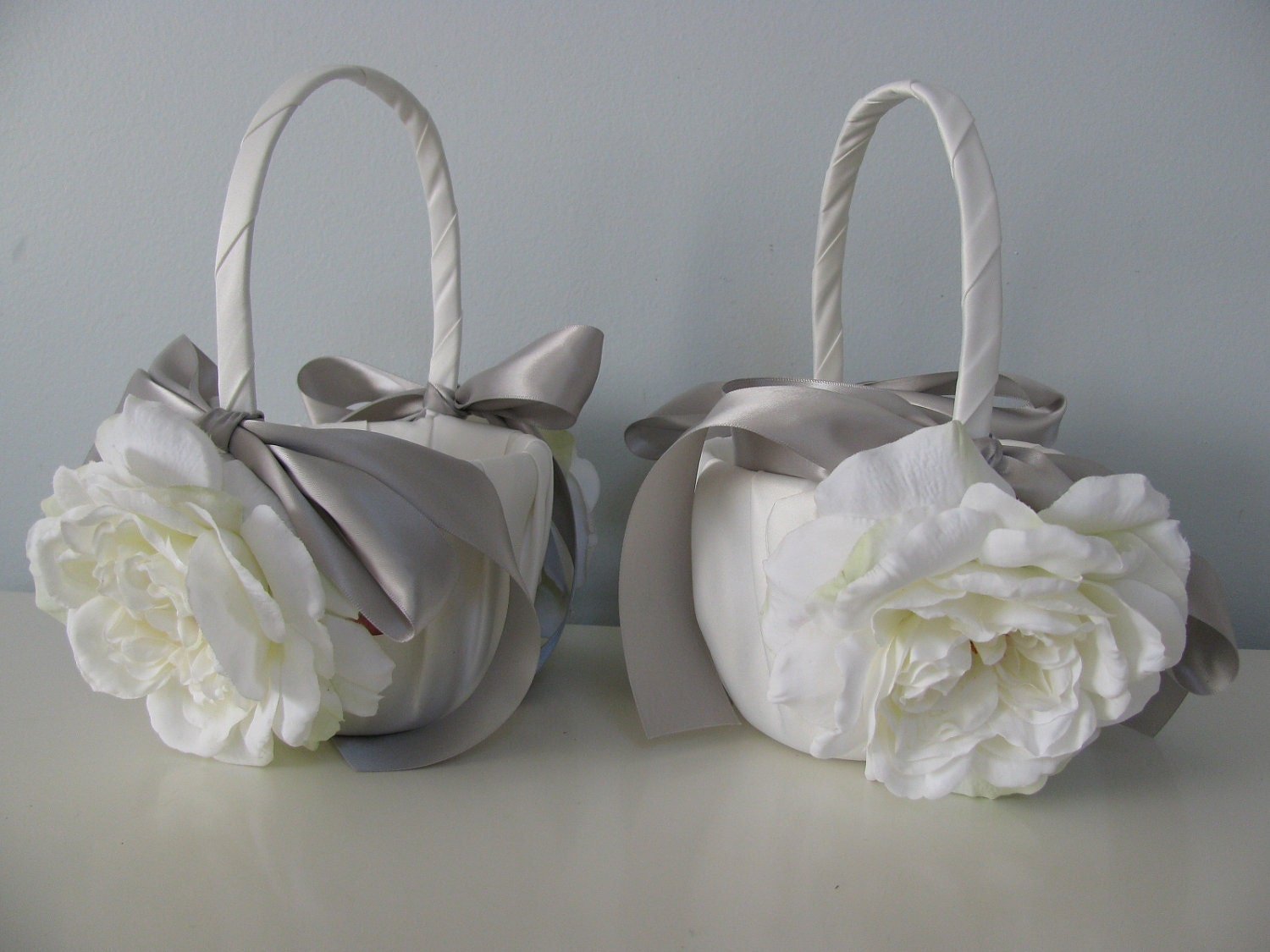 Satin Flower Girl Baskets Set of 2 Shown Ivory by astylishdesign