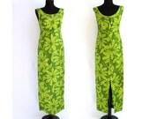 HOLD for Eli W. FINAL SALE / vintage hawaiian summer dress / hula aloha maxi / lime green wiggle tropical