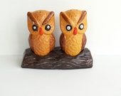 Vintage 1970s Ceramic Owl Salt and Pepper Shakers