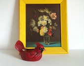 flower print / vintage wall decor / bright yellow home accent