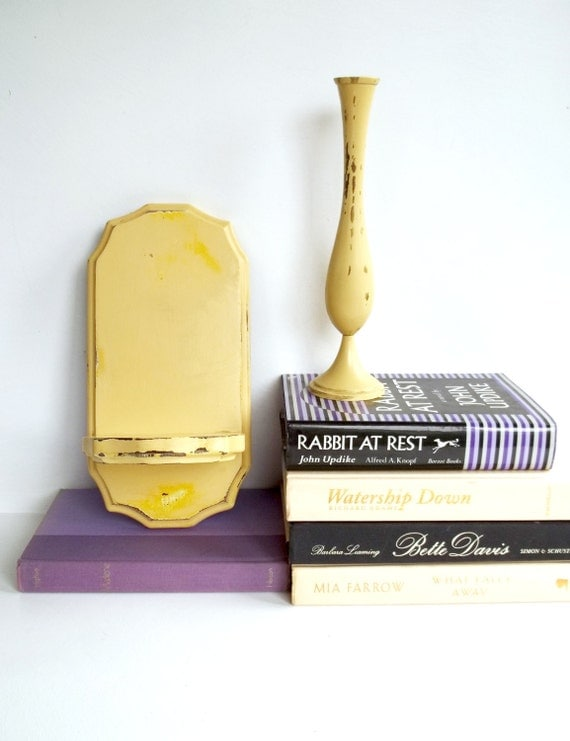 pastel yellow vase and shelf / upcycled wood and brass / shabby chic cottage