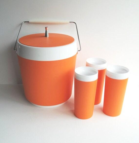 vintage ice bucket and tumbler set / orange and white / melamine plastic and chrome