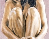 nude female watercolor portrait 8.5x14 inch signed print