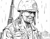 Sgt Rock by Steve Lieber, 6 by 6 ink drawing