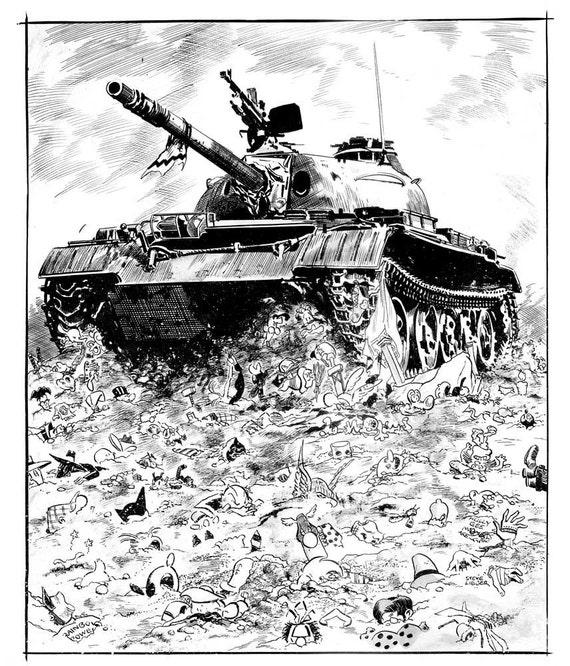 Comics vs War print by Steve Lieber