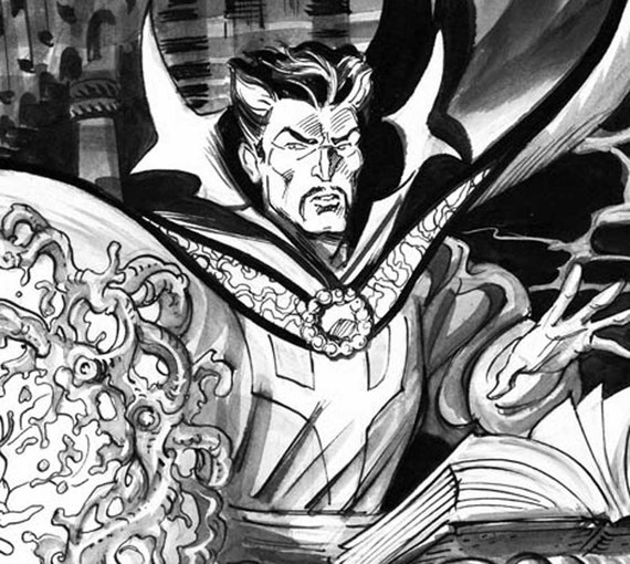 Dr. Strange ink and gouache drawing by Aaron McConnell