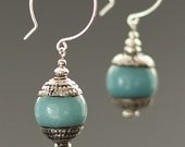 Rich blue amazonite and silver earrings