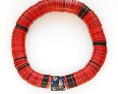 Red stretch bracelet of African vulcanite vintage trade bead