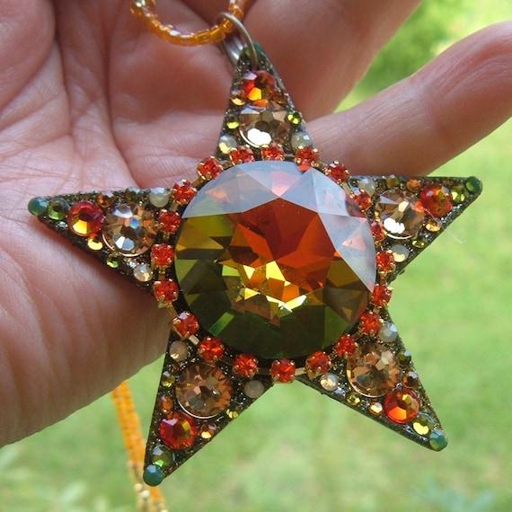 "FaunLand Finder, 2 3/4"" shining star, swarovski crystal, autumn, trees, foliage, magical, faerie adornment, glittery star"