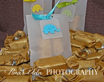 Elephant Baby Shower Favors - 2 caramels each - Beautiful favors for your event with DELICIOUS caramels featured by the FOOD NETWORK