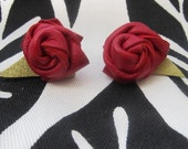 Queen of Hearts Rosettes red italian leather earrings by ReBelle