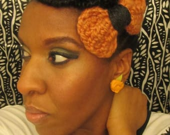 Hairbow Blush and gray crochet hairbow by ReBelle