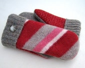Felted Wool Sweater Mittens Fleece Lined Candy Cane