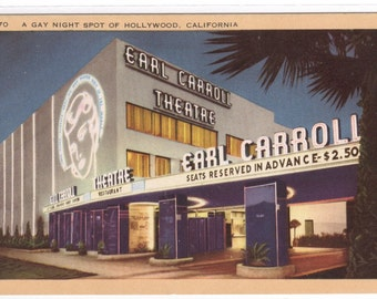 Earl Carroll Theater Hollywood California postcard