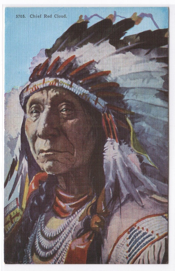 Indian Chief Red Cloud Native American linen postcard
