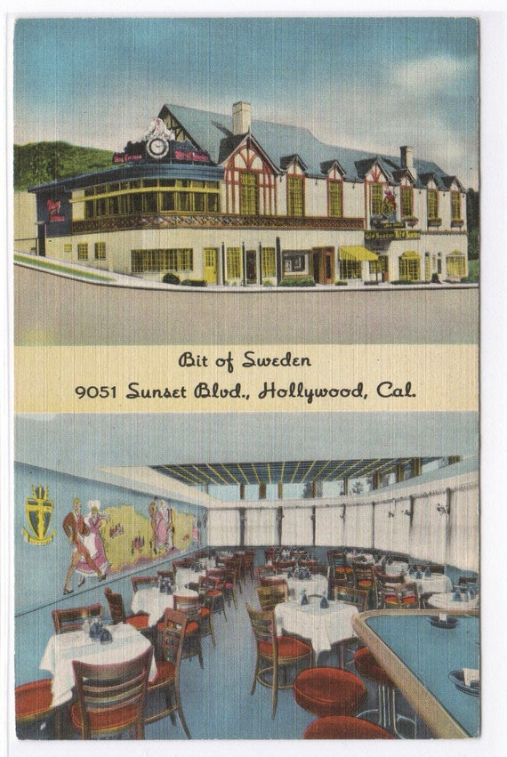 Bit of Sweden Restaurant Sunset Boulevard Hollywood CA linen postcard