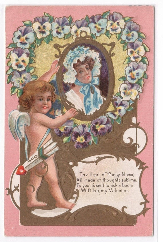 Heart of Pansy Valentine Day 1911 embossed postcard