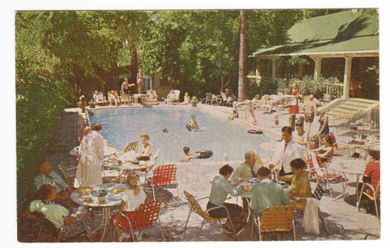 Swimming Pool Crowd Los Laureles Lodge Carmel CA postcard