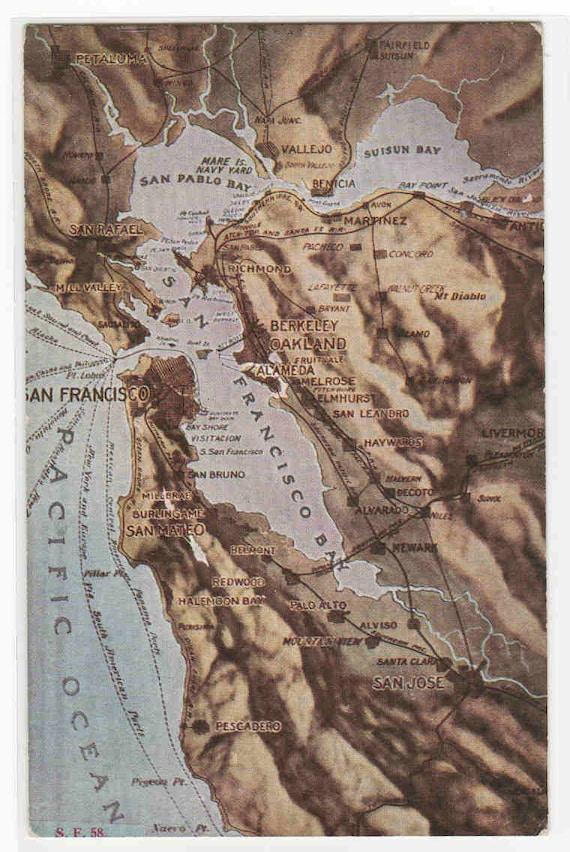 Topographic Map San Francisco Bay Area Ca 1910c Postcard