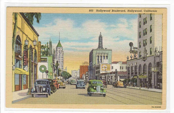 Hollywood Boulevard Los Angeles CA linen postcard