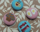 Breakfast Food Cotton Button Magnets- Set of 4 (Coffee, Bacon, Eggs, Muffin)