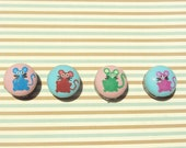 Mice on Cotton Button Magnets Set of 4