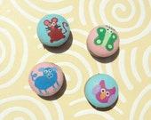 Four Little Critters (Owl, Mouse, Pig and Butterfly) Cotton Button Magnets Set of 4