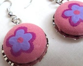 Pink Cotton Button with Purple Flower Bottlecap Earrings
