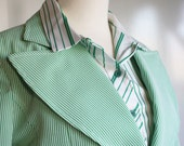 CLEARANCE WAS 68.00 Vintage John Meyer Pant Suit Mint Green and White Stripes 1960s 70s Size 8 10