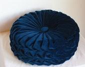 Handmade 1960s Vintage Inspired Round Smocked Decorative Pillow Navy Blue Velvet