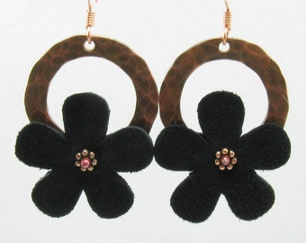 Textured Copper Washer and Black Suede Flower Hoops