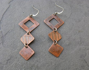 Geometric Diamond Etched Copper and Sterling SIlver Mixed Metal Earrings