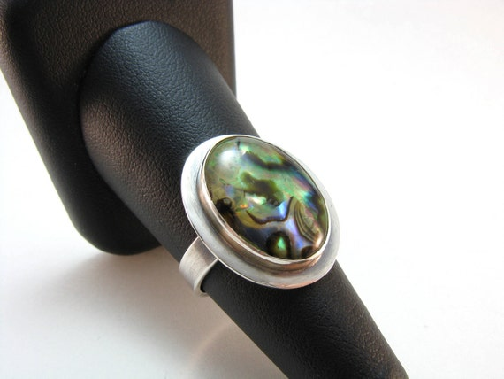 Abalone Paua Shell and Sterling Silver Statement Ring Bezel Set Multi Color
