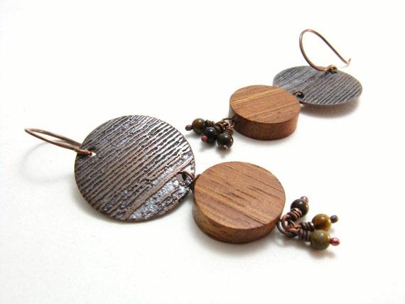 Wood Grain Copper Etched Beaded Earrings Tiger Eye Gemstone Dangles Rustic Earthy Woodland