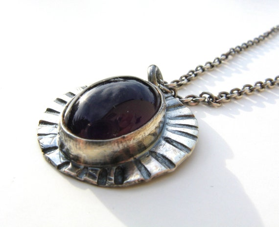 Dark Purple Amethyst Rustic Sterling Silver Necklace and Pendant February Birthstone Necklace