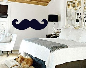 Mustached Dreaming - Under a fun Mustache  - Vintage Inspired - Vinyl wall art decals stickers by 3rdaveshore 26
