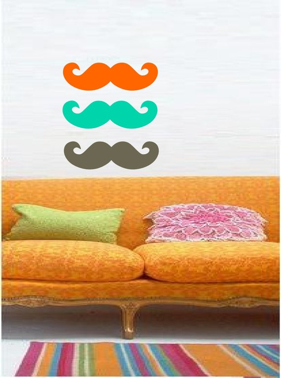 Multicolored Mustaches For You or to Share - BFF  - Vinyl art decals stickers by 3rdaveshore 163