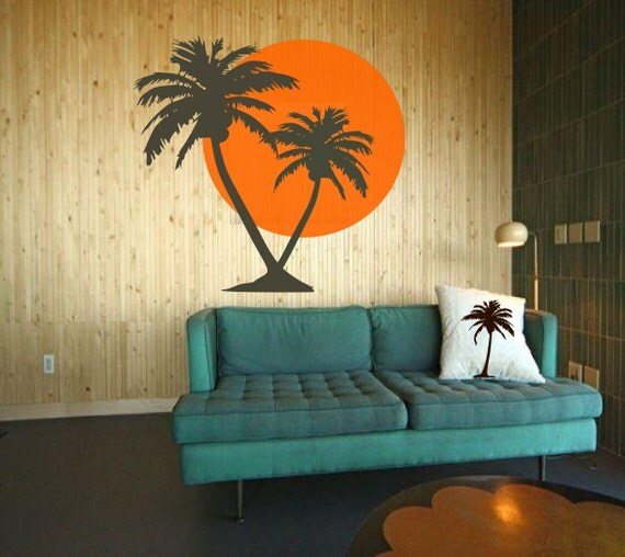 Tropical Summer sunrise with Palm Trees  - Vinyl art decals stickers by 3rdaveshore beach house decor 50